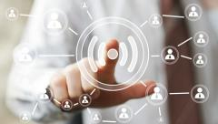 Business button Wifi online connection icon signal Stock Footage
