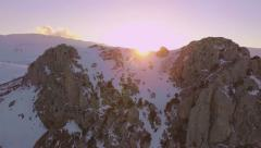 Flying Over the Snowy Mountain Stock Footage