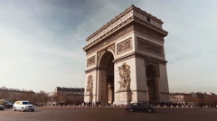Arch Of Triumph, Morning Traffic 2 Stock Footage