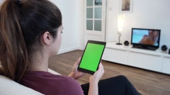 Using Green Screened Tablet Television - 1080p Stock Footage