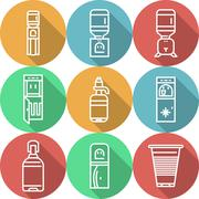 Items for water coolers colored icons - stock illustration