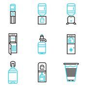 Water coolers simple line icons Stock Illustration