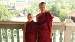 Two Novice Monks at Temple - Myanmar Burma Stock Footage