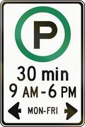 Half Hour Parking In Specified Times in Canada Stock Illustration