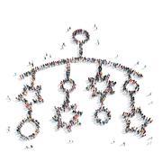 people shape  children's rattle - stock illustration