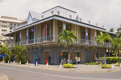 Blue Penny museum building in Port Louis, Mauritius. - stock photo
