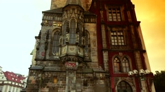 Stock Video Footage of ULTRA HD 4K real time shot,view of square and astronomical clock,Prague