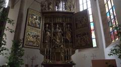 4k Altar leadlight windows catholic church Hallstatt - stock footage