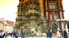 ULTRA HD 4K real time shot,view of square and astronomical clock,Prague - stock footage