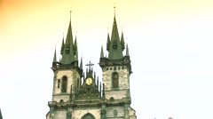 ULTRA HD 4K real time shot,The Church of Mother of God in front of Tyn in Prague - stock footage