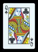 Playing cards - Queen of clubs - stock photo