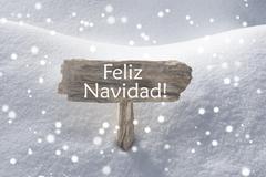 Sign Snowflakes Feliz Navidad Mean Merry Christmas Stock Photos