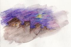 Mysterious ancient castle. Watercolor on paper - hand illustration Stock Illustration