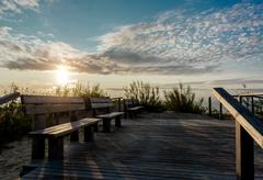 Sunrise over the Curonian spit in Nida resort town. Neringa, Lithuania Stock Photos