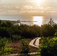 Sunrise over the Curonian Lagoon in Nida resort town. Neringa, Lithuania Stock Photos