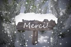 Christmas Sign Snowflakes Fir Tree Merci Mean Thanks Stock Photos