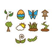 Spring season icon set Stock Illustration