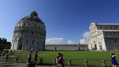 Pisa Tower at Square of Miracles, Torre di Pisa at Piazza dei Miracoli - stock footage