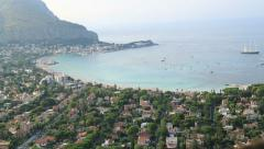Mondello town and beach areal view Stock Footage
