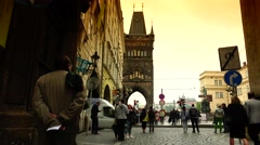 Stock Video Footage of ULTRA HD 4K real time shot,view of Charles Bridge in Prague