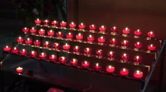 4k Prayer candles in catholic church Stock Footage