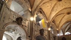 Medieval church inside Europe Stock Footage