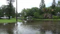 Flooded Neighborhood Street In Gulfport Florida 02 Stock Footage