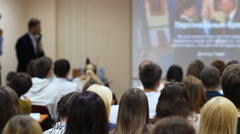 People Listen To Speakers At A Business Seminar - stock footage