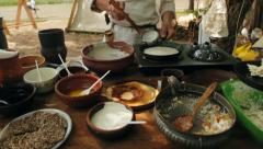 Cooking Outdoors. Field Kitchen Stock Footage