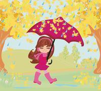 Girl walking in the rain Stock Illustration