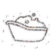 group  people shape  bath washing - stock illustration