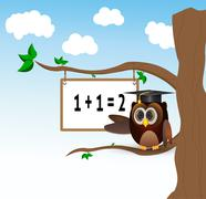 owl teaching above the tree - stock illustration