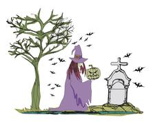 Illustration of witch with Halloween pumpkin Stock Illustration