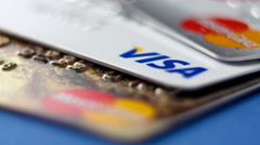 Credit cards set macro - stock footage