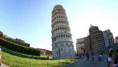 Pisa Tower at Square of Miracles, Torre di Pisa at Piazza dei Miracoli Stock Footage