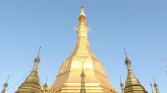 Pan Down  - Shwedagon Pagoda Daytime -  Myanmar Burma Stock Footage