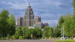 The triumph of Astana building with the clouds on the background. - stock footage