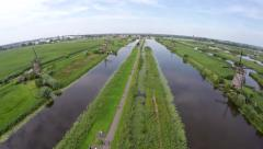 Aerial Kinderdijk Childrens Dike windmills Unesco World Heritage 4k - stock footage