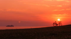 Sky sunset  landscape sea,walking people bicycle 2 Stock Footage