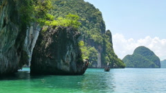 Group of cliff tropical islands in Thailand near Krabi - stock footage