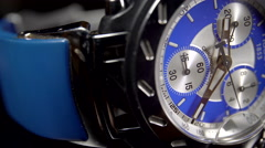 Extreme Close Up of a very fashionable men's chronograph watch. 4K UHD. Stock Footage