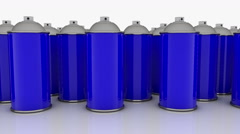 Color spray cans in blue color in rows Stock Footage