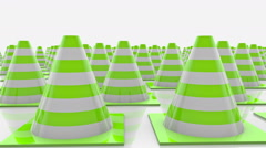Moving traffic cones in rows with green stripes Stock Footage