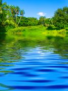 Surface Rippled of water and nature background Stock Photos
