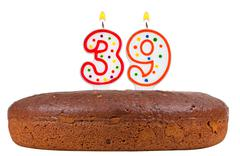 birthday cake with candles number thirty nine - stock photo