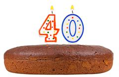 birthday cake with candles number forty - stock photo