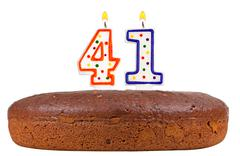 birthday cake with candles number forty one - stock photo