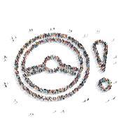 People  shape  steering wheel car Stock Illustration