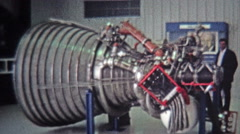 1971: Cape Canaveral space shuttle real engines museum display. Stock Footage