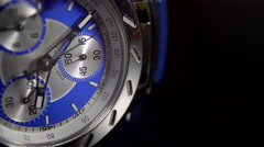Extreme Close Up of a very fashionable men's chronograph watch. 4K UHD. - stock footage
